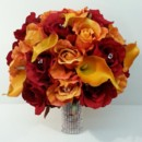 130x130 sq 1427847636724 artificial red rose and orange calla bouquet 500
