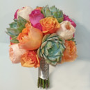 130x130 sq 1427847833244 coral hot pink peach rose and succulent bouquet