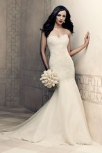 Style 4358   Strapless Paloma Re-embroidered Lace wedding dress. Tunic bodice with scalloped sweetheart neckline. Organdy flared skirt with scalloped hemlace. Chapel Train.