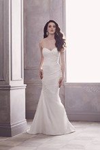 Style 4413   Silk Dupioni and Paloma Re-embroidered Lace Bridal Gown. Strapless cross-over pleated bodice with side lace beaded appliqué detail. Covered buttons over zipper. Side drape and matching appliqué detail. Sweep Train.