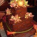 3 tier ganache covered cake with fresh flowers. Floral vines design on side done in ganache.