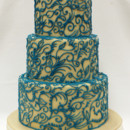 130x130 sq 1470857223934 3tot wedding cake offwhite marzipan with blue aqua