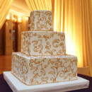 130x130 sq 1470857916542 3tot wedding cake white buttercream square gold fl