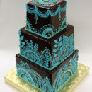 130x130 sq 1470924927452 3tot ganache wedding cake aqua teal custom henna d