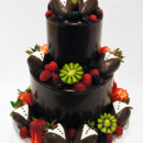 130x130 sq 1470925207681 3tot ganache wedding cake fresh fruit edit