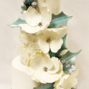 130x130 sq 1471025775132 3tot white buttercream  green flowers holly silver