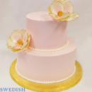 130x130 sq 1471285668154 2tot pink  gold buttercream flower wedding cake 6