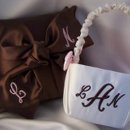 130x130 sq 1281449715189 chocolateloveknotmonogrampillowbasket