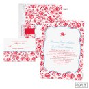 Little red flowers cover the front and back of this Jean M wedding invitation with sentimental, vintage style.