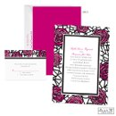 Get an artistic look that's oh-so-romantic with the stained glass-look roses in raspberry pink on this Jean M wedding invitation. The front of the two-sided wedding invitation features the roses and dramatic black lines as the border for your wording. The back is raspberry.
