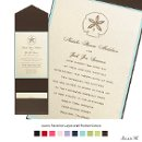 Set the tone for your special day and introduce your wedding color scheme with this layered invitation featuring elegant, champagne shimmer paper on top an espresso pocket.