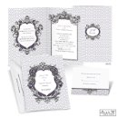 The ornate crests on this Jean M wedding invitation accent your wording with style, and you get to choose the color, too! The two-sided, folding wedding invitation features your names and wedding date on the front, your wording inside and your initials on the back. Print your reception wording to save the cost of ordering separate reception card, or print a meaningful quote or verse.