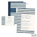 Navy blue stripes cover this Jean M wedding invitation with nautical flair. The two-sided wedding invitation is printed with your wording on the front and your initial on the back.