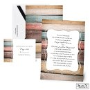 Wooden stripes in natural colors set a rustic tone for your wedding on this Jean M wedding invitation.