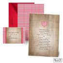 A natural burlap print and a cherry red gingham heart make this Jean M wedding invitation the perfect introduction to your rustic wedding!