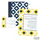 Get artistic and modern at the same time when you introduce your wedding with the marigold and midnight blue ikat diamonds on this Jean M wedding invitation. The two-sided wedding invitation is printed with your wording on the front in your choice of Michaels designer colors and lettering styles. The back is midnight diamonds.