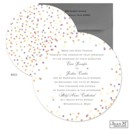 Colorful dots look like a confetti toss to celebrate your news on this Jean M wedding invitation. The round, two-sided wedding invitation features your wording printed on the front and an all-over dot pattern on the back.