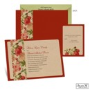 Want a vintage wedding look with a modern twist? The old fashioned roses in bright red on this Jean M wedding invitation will give you just that!
