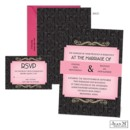 The Great Gatsby would be impressed by this Art Deco wedding invitation! The pink and black Jean M wedding invitation is printed with your wording in the unique format on the front and with a black pattern on the back.