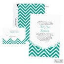 Show your unique wedding style with this Jean M wedding invitation's scalloped shape and emerald green chevron pattern.
