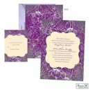 Introduce your wedding in a beautiful, artistic way with the purple iris design on this Jean M wedding invitation.