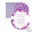 A watercolor swirl of purple flower petals introduces your special news with artistic style on this Jean M wedding invitation. The round, two-sided wedding invitation is printed with your wording on the front in your choice of Michaels designer colors and lettering styles.