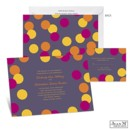 Dare to show your true colors with this Jean M wedding invitation covered in bold dots and a deep purple background! The two-sided wedding invitation features your wording on the front and dozens of dots on the back.
