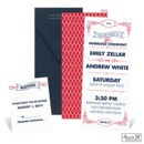 "Classic typography and bright red accents create a modern vintage look on this Jean M wedding invitation. The two-sided, tea length wedding invitation is printed with the ""You are invited to the marriage ceremony of"" design shown and your wording on the front and the red geometric pattern on the back."