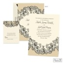Lace and flowers come together beautifully on this vintage style Jean M wedding invitation. The taupe and black floral lace design on the ecru wedding invitation accents your wording on the front and your names on the back.