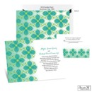 Go for a bright and exotic look with this Jean M wedding invitation's emerald green floral mosaic pattern.