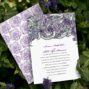 Ornate grey swirls and purple flowers introduce your wedding in a regal way on this Jean M wedding invitation. The two-sided wedding invitation is printed with your wording on the front in your choice of Michaels designer colors and lettering styles. The back is covered in purple flowers. Blank inner and outer envelopes are included.