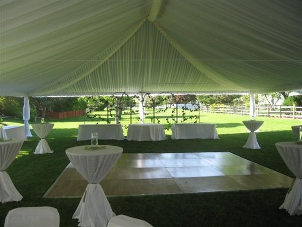 White Dance Floor Outdoor Reception Summer Wedding