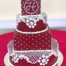 130x130 sq 1310418465493 weddingcakeredandwhitelacebuttercream
