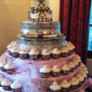 130x130 sq 1310418557513 weddingcaketieredcakewithcupcakes
