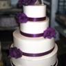 96x96 sq 1310418425335 weddingcakepurpleribbonpurpleflowers