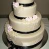 96x96 sq 1310420712014 weddingcakeivoryfondantwithsalmonpinkrosesandblackribbon