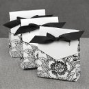 White Dramatic Floral favor boxes Also available in White & Red and Purple & Ecru