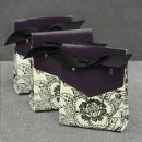 Purple and Ecru Dramatic Floral favor boxes Also available in Black & White and Red & White