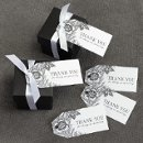 White Dramatic Floral Thank You favor tags Also available in Ecru!