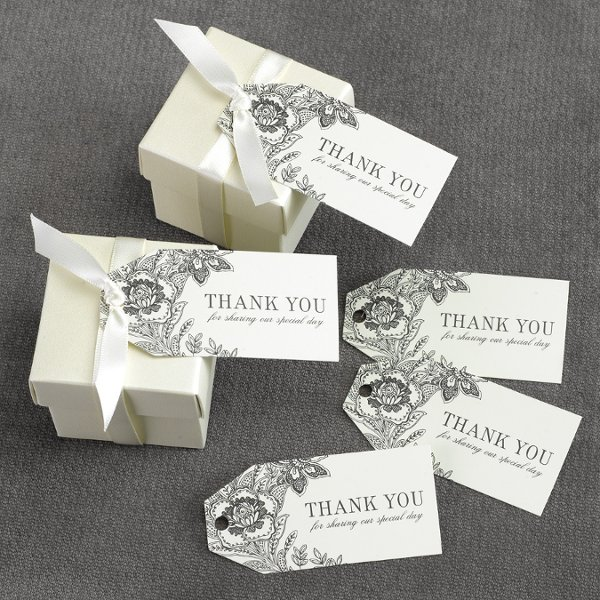 Ecru Dramatic Floral Thank You favor tags Also available in White!
