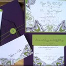 130x130 sq 1353107621162 weddinginvitationpurpleletterpresssparkpaisley