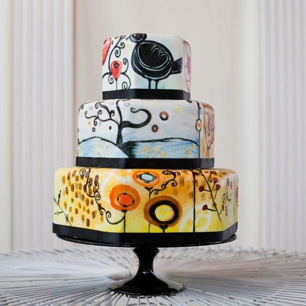 AvantGarde Boho Chic Hip Modern Fondant Ribbon Wedding Cake