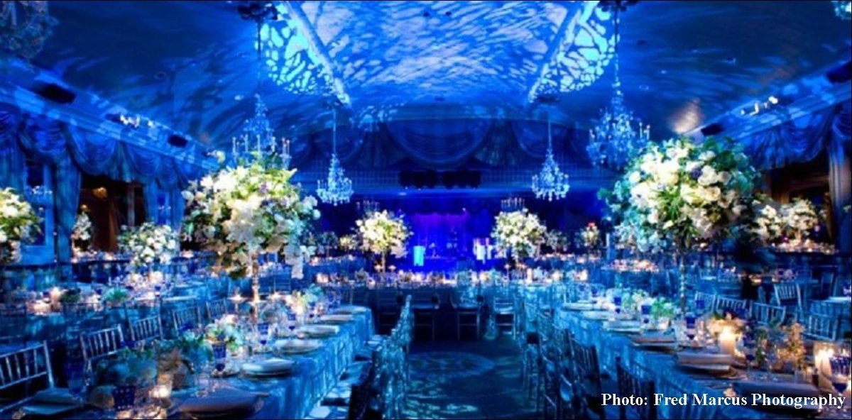 Blue White Ballroom Centerpieces Chairs Dance Floor