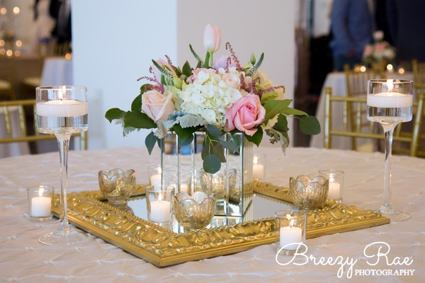 Classic formal romantic gold ivory pink white centerpiece