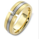 Gents Dora Wedding band in white and yellow gold with a baguette diamond