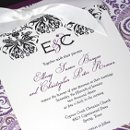 130x130 sq 1355257473297 purpleelegantdamaskweddinginvitation1