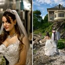 Bridal portrait and candid reception photo.