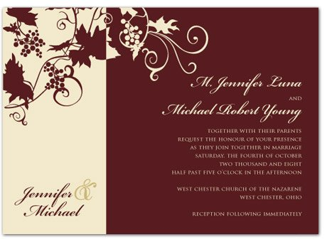 Burgundy Ivory Fall Invitations Wedding Invitations Photos