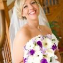 130x130 sq 1424812802418 white  purple bridal bouquet of white gerbera dais