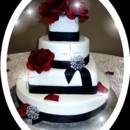 130x130 sq 1368541210278 mooshu wedding cake black and white rhinestone 1